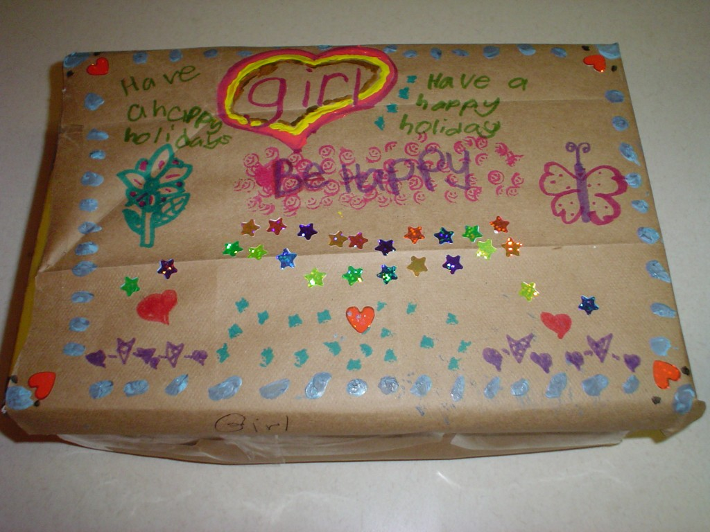 Box made for girls in homeless shelter. It included toiletries and other things a little girl would enjoy.