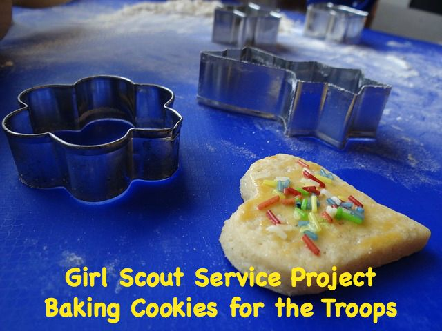 Baking cookies for troops overseas is a fantastic Girl Scout service project.