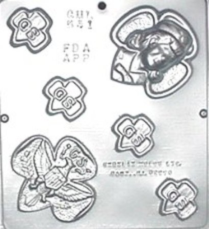 The Girl Scout chocolate mold is a fun way for the girls to earn badges that require simple cooking. Can be used to make treats for bridging ceremonies as well.