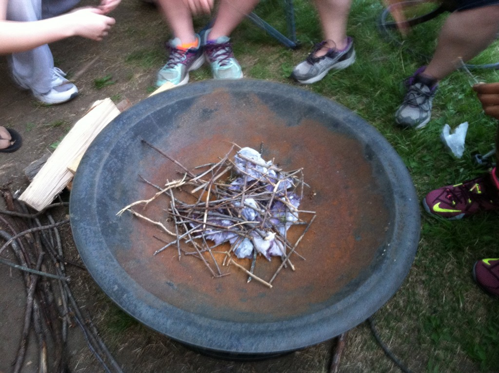 Building a Girl Scout camp fire