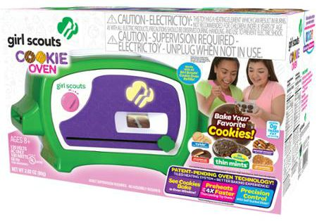 The Girl Scout Cookie Oven lets girls and adults bake their favorite flavors at home in less time than an Easy Bake Oven.