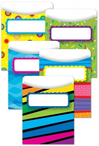 Bright and colorful library pockets for your Kaper chart.