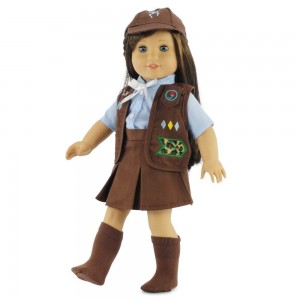 This Brownie Girl Scout uniform fits 18 inch dolls.
