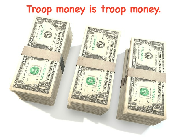 "You cannot withhold money from a girl who does not sell a lot of Girl Scot cookies. Like it or not, the GSUSA has set up the ""troop money is troop money"" rule to protect the girls. Cookie selling is a voluntary activity."