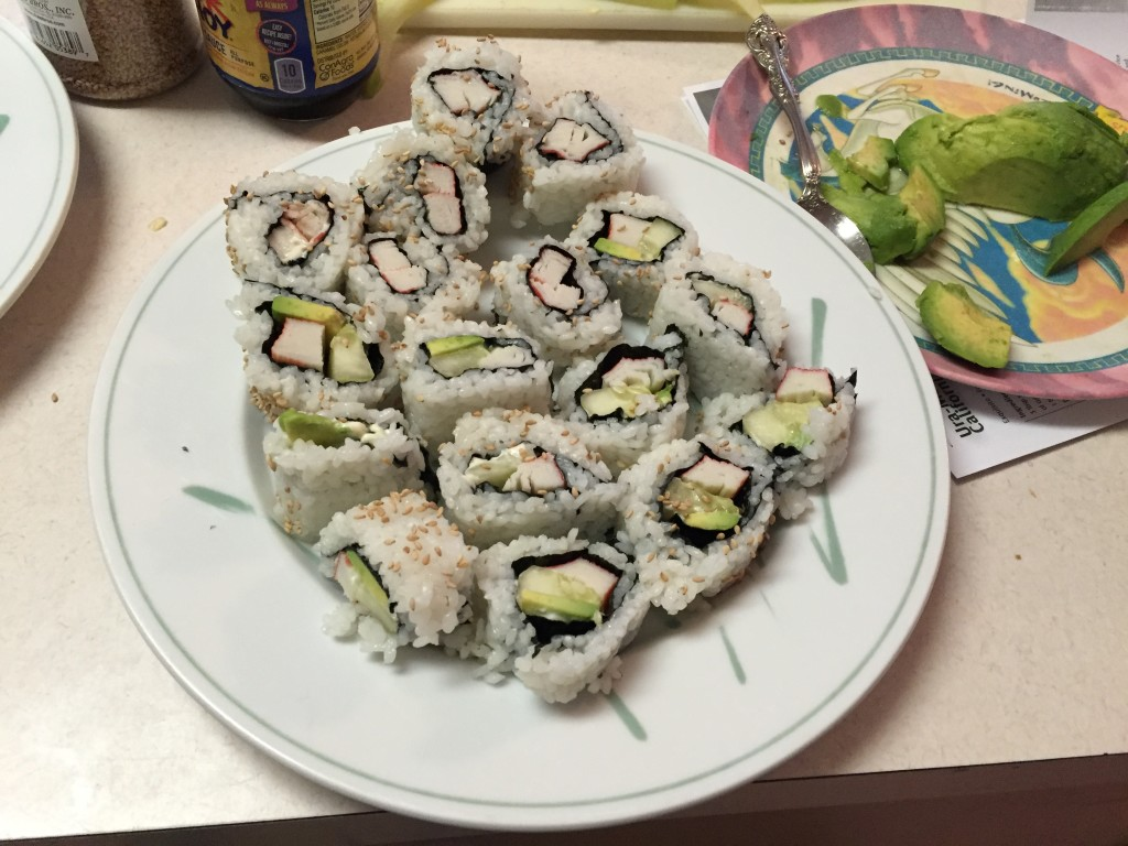Here is sushi that my children made. It was easy and can be incorporated into a World Thinking Day activity and as part of a cooking badge as well.