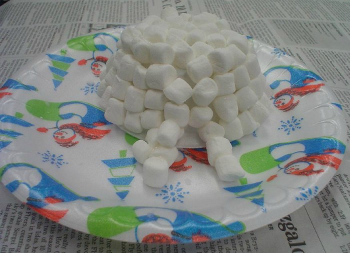Making a marshmallow igloo is a fun craft to make at your December Girl Scout party.