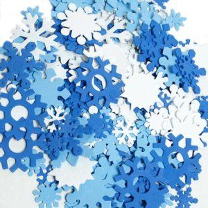 Snowflake foam shapes can also be used for winter crafts.