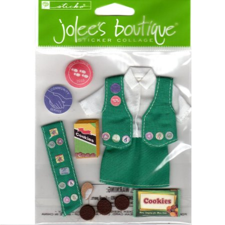 On sale for 80% off and free shipping-Jolee's Boutique Sticker Collage 3D Girl Scout Uniform and Cookies Scrapbooking Kit