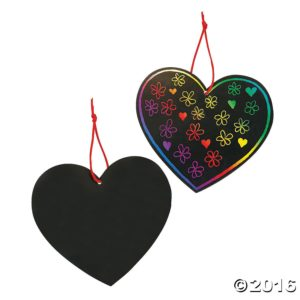 Scratch off hearts for Valentine's Day crafts for your class party or Girl Scout troop.