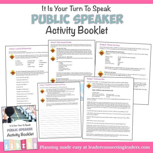 Cadette Public Speaker badge activity packet