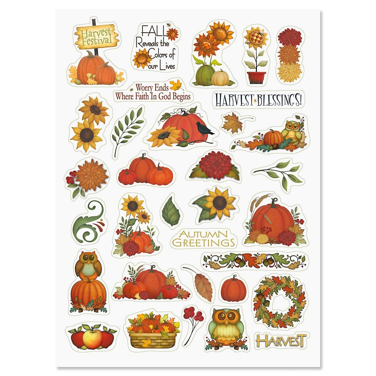 Thanksgiving and fall themed stickers for crafts