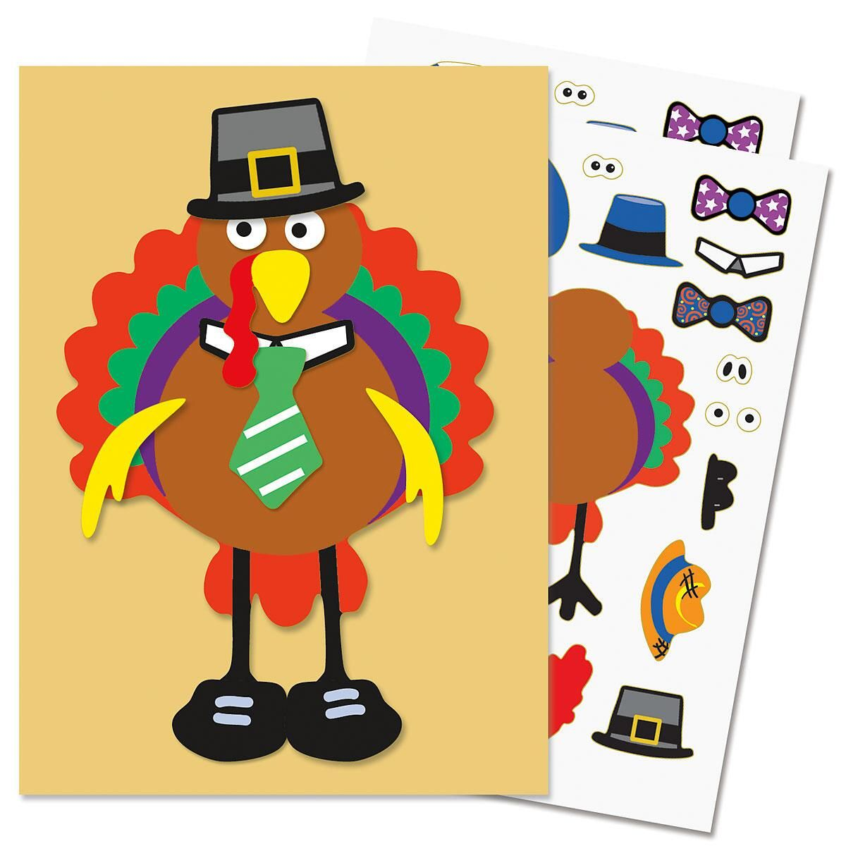 Set of 12 Make a Turkey sticker sheets can be used to make Thanksgiving cards for others.